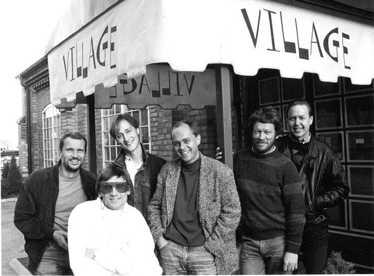 Village. Husband. Från vänster Bobo Stenson,Lars Färnlöf, Joakim Milder, Göran Klinghagen, Palle Danielsson, Rune Carlsson. Foto: Gunnar Holmberg